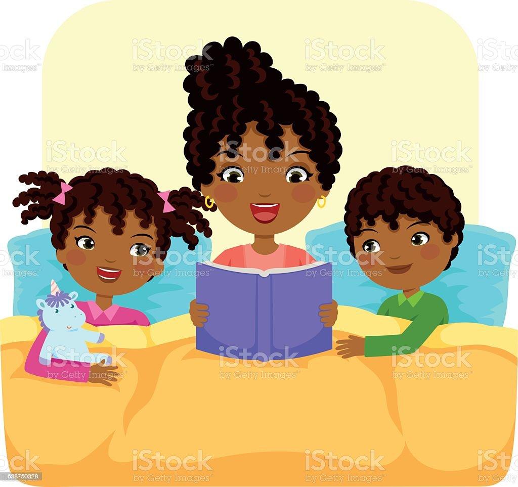 black family reading story vector art illustration