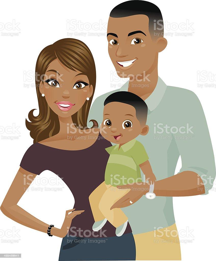 Black Family vector art illustration