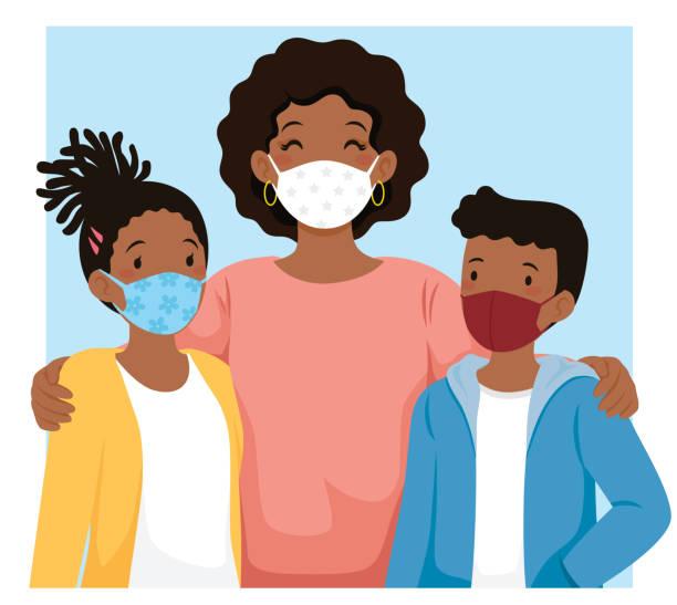 Black family wearing face masks vector art illustration