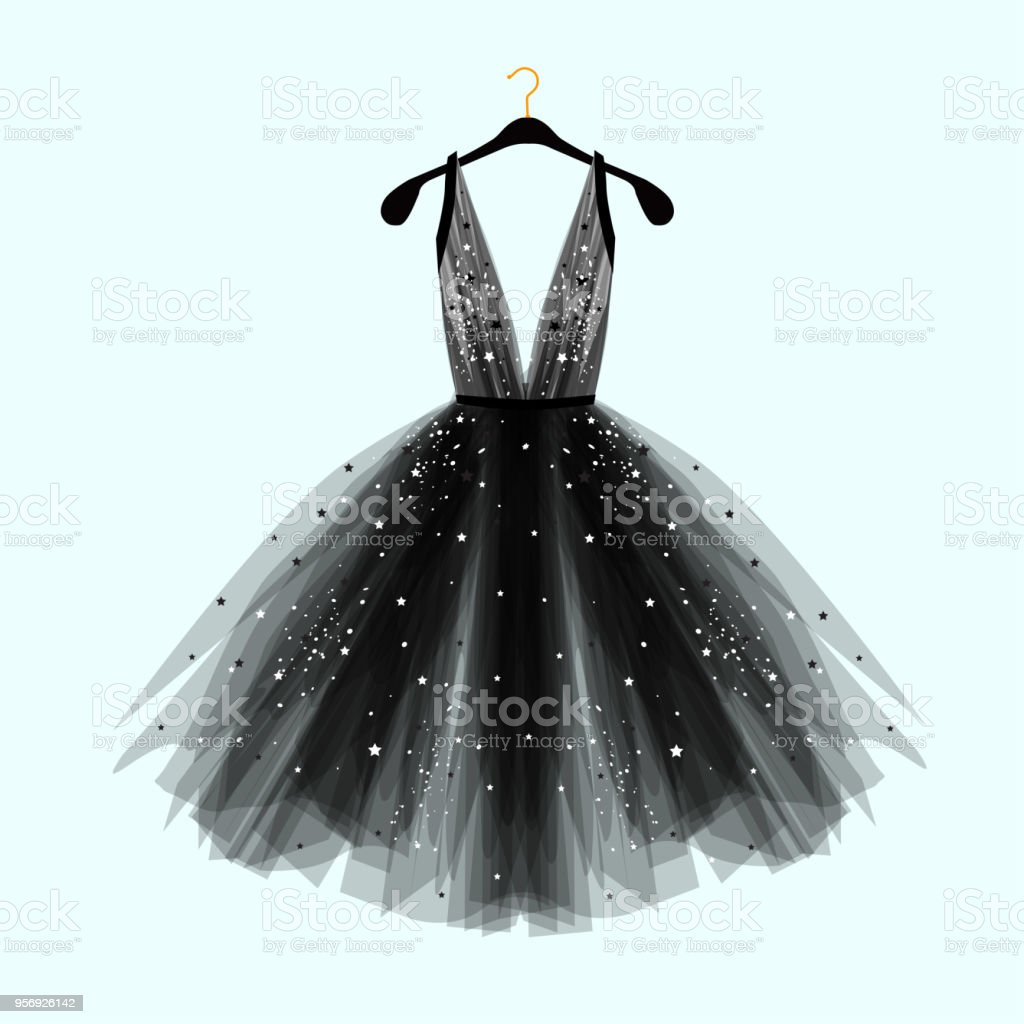 Black fancy dress for special event with decor. vector art illustration