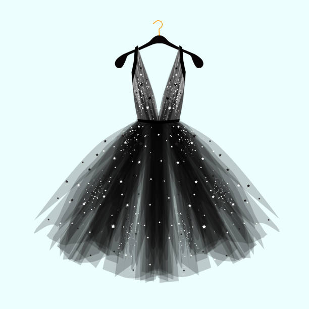 black fancy dress for special event with decor. - prom fashion stock illustrations, clip art, cartoons, & icons