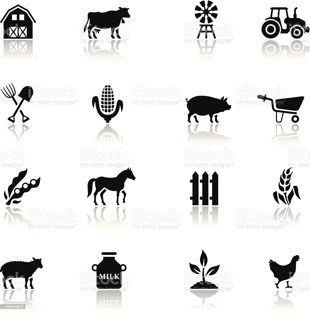 Black Farm Icon Set vector art illustration