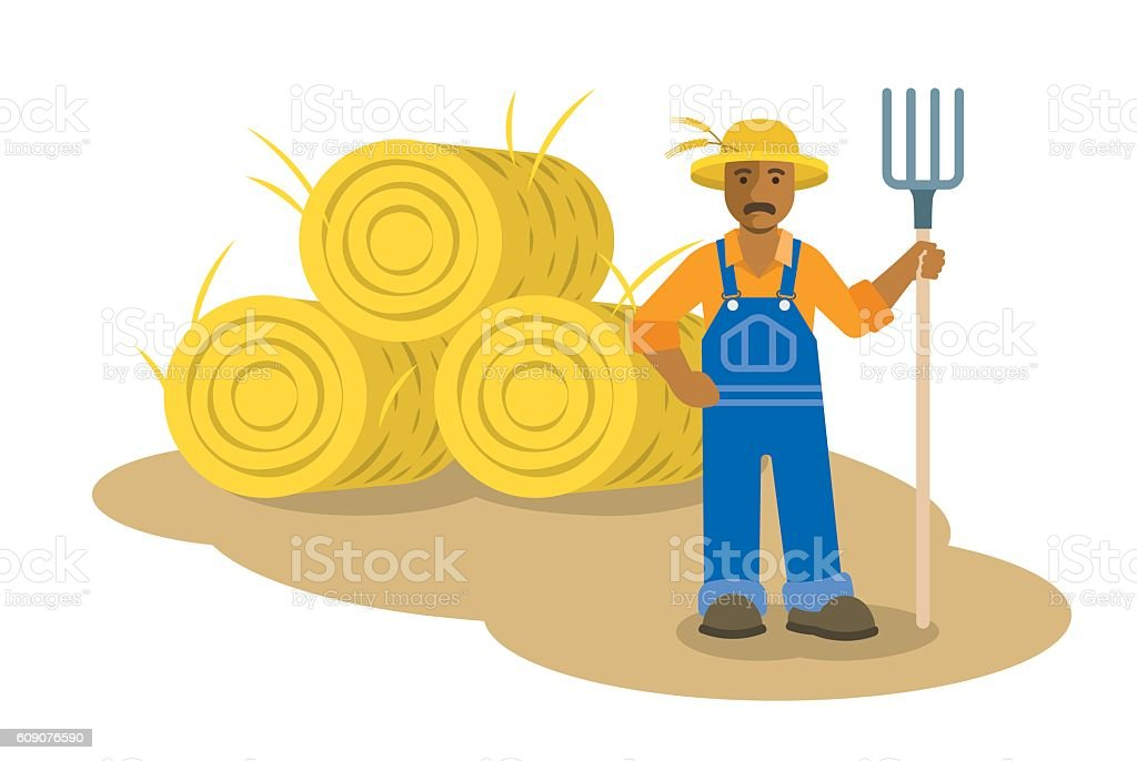 Black farmer man standing with pitchfork flat illustration vector art illustration