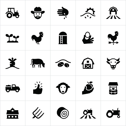 Black Farming and Agriculture Icons