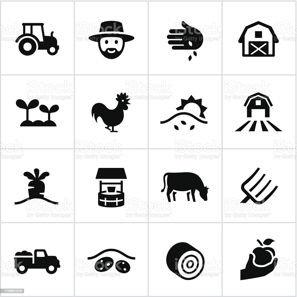 Black Farming Icons vector art illustration