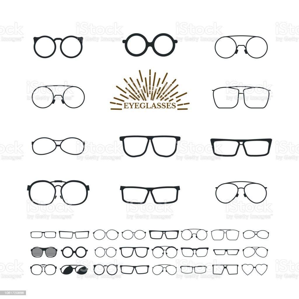 034165c23b4a Glasses lens accessory frame collection. Collection various styles of fashion  glasses solid black silhouette vector. - Illustration .
