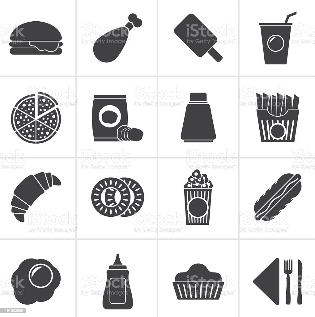 Black fast food and drink icons vector art illustration