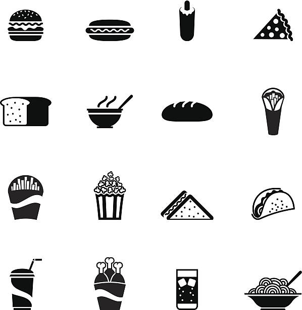 Black fast food icon Set of a black fast food icon of hamburger,sandwich,hot dog,slice of pizza,bread,soup, loaf,Donner,fries,popcorn,chicken legs,Pita Bread,spaghetti,fizzy drink,milkshake vector illustration design elements.File contain EPS8 and large JPEG bread clipart stock illustrations