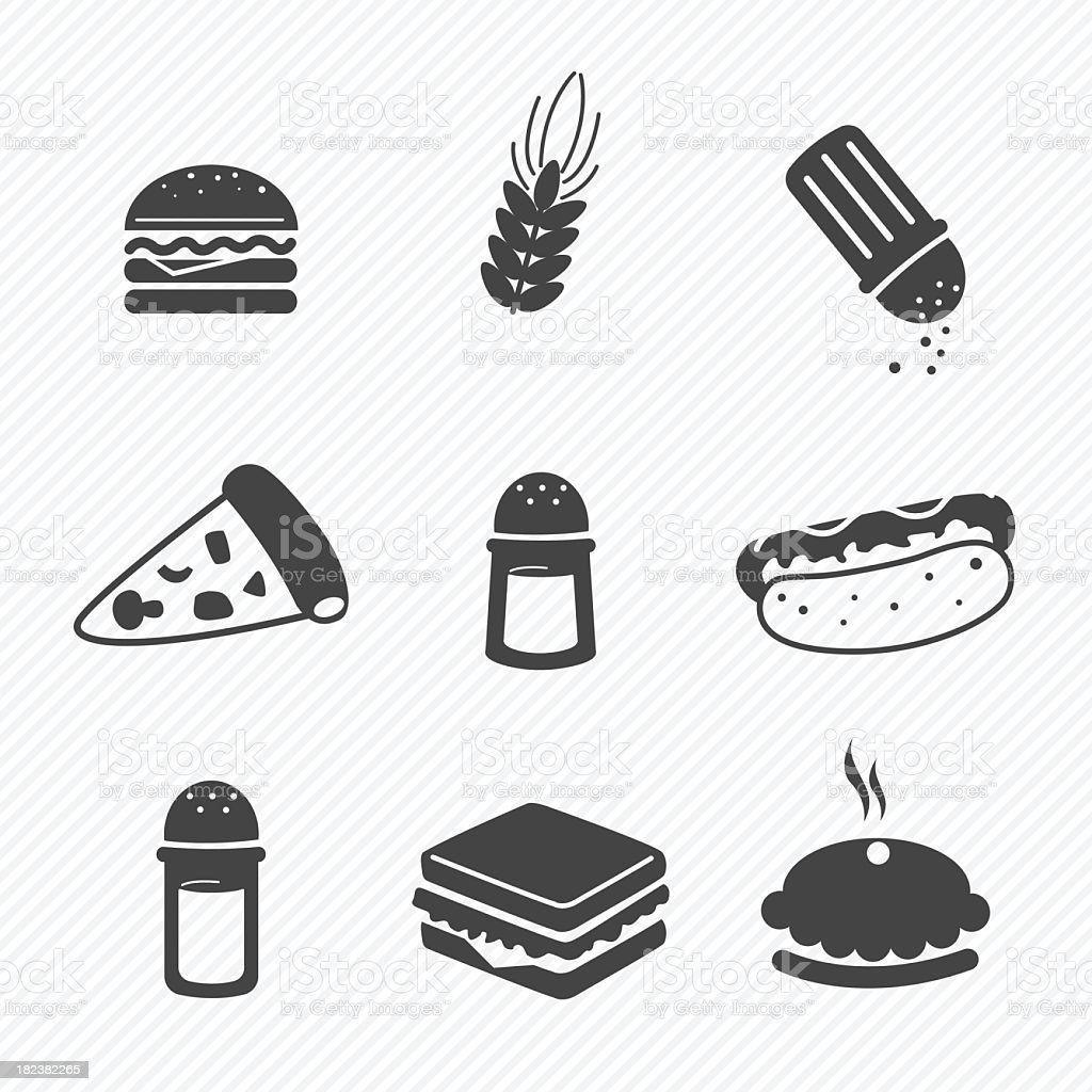 Black fast food icons against white textured background vector art illustration