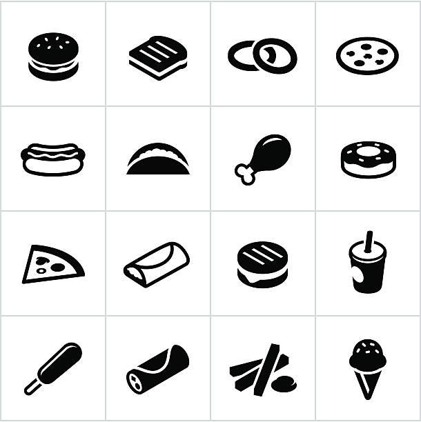 Black Fast Food Icons vector art illustration