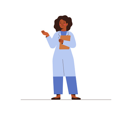Black female doctor in medical uniform pointing and showing smth with hand. Confident African American woman medicine worker explaining and presenting something.
