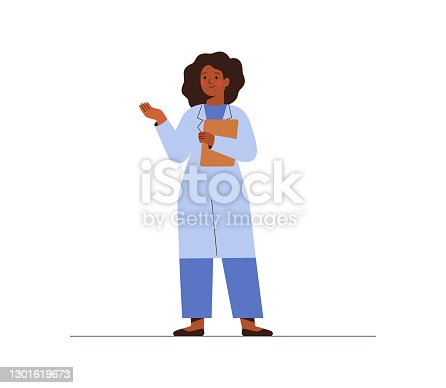 istock Black female doctor in medical uniform pointing and showing smth with hand. Confident African American woman medicine worker explaining and presenting something. 1301619673