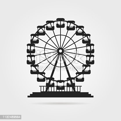 black ferris wheel with shadow. concept of skyline, tower badge, event, admission, access, cityscape, pleasure, celebration. flat style trend modern design vector illustration on gray background