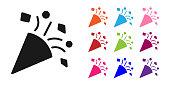 Black Festive confetti icon isolated on white background. Set icons colorful. Vector Illustration