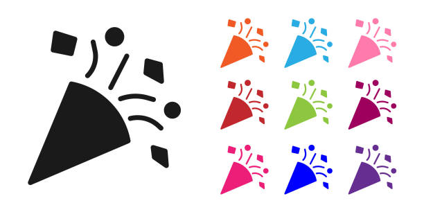 Black Festive confetti icon isolated on white background. Set icons colorful. Vector Illustration Black Festive confetti icon isolated on white background. Set icons colorful. Vector Illustration anniversary clipart stock illustrations