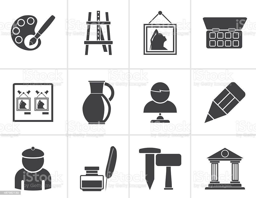 Black Fine art objects icons vector art illustration
