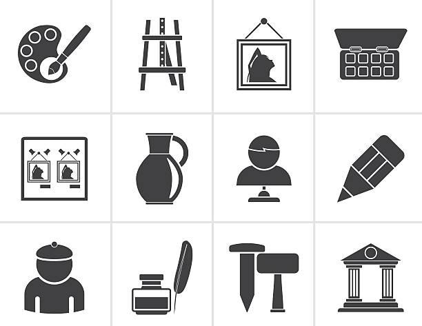 schwarze feine kunst objekte symbole - hausfarbpaletten stock-grafiken, -clipart, -cartoons und -symbole