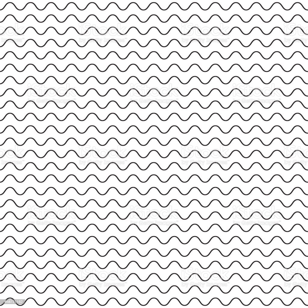 Black fine wavy line pattern black and white vector art illustration