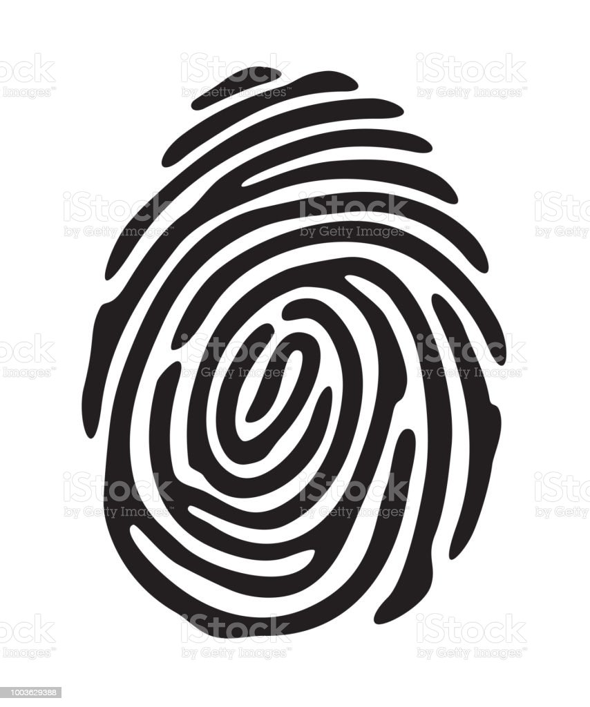Black fingerprint shape vector art illustration