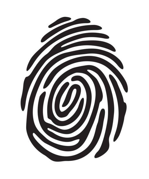 Black fingerprint shape vector art illustration