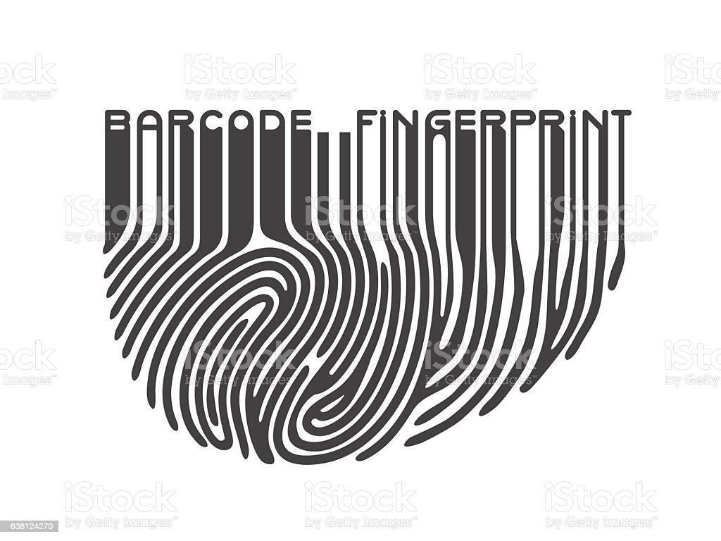 Black Fingerprint With Bar Code Stock Illustration
