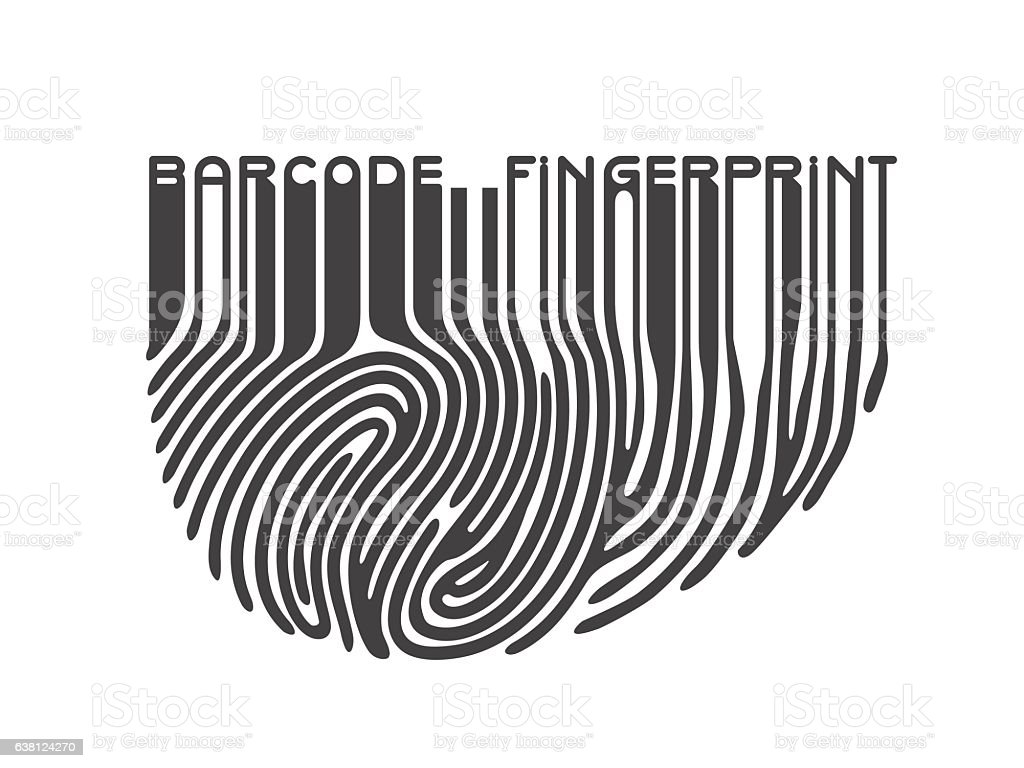 Black fingerprint with bar code vector art illustration