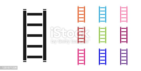 Black Fire escape icon isolated on white background. Pompier ladder. Fireman scaling ladder with a pole. Set icons colorful. Vector Illustration