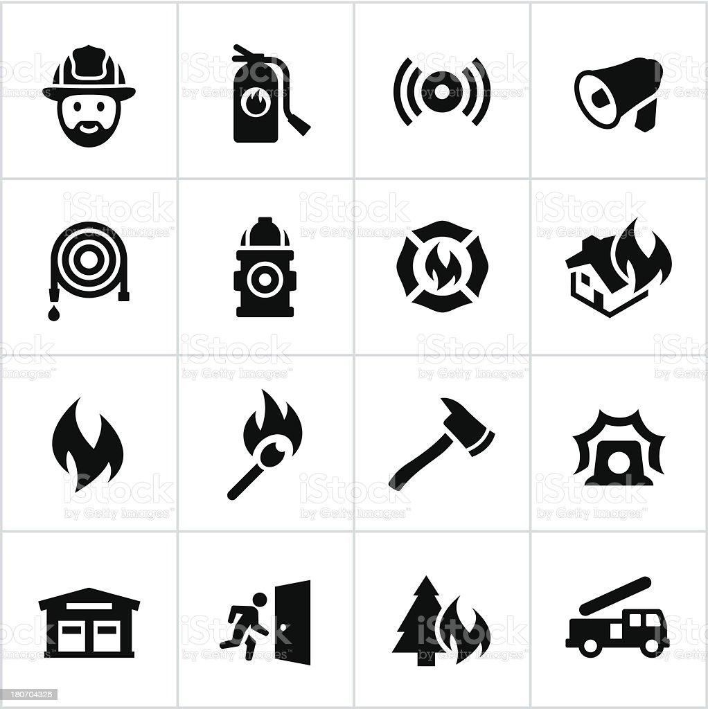 ブラックの消防のアイコン ベクターアートイラスト