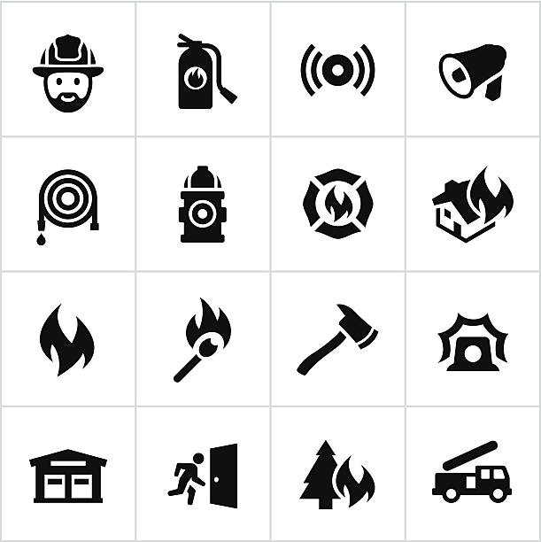 Black Firefighting Icons Firefighting icons. All white strokes/shapes are cut from the icons and merged allowing the background to show through. fire hose stock illustrations