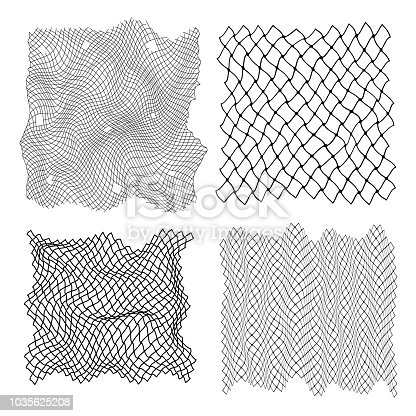 Black Fisherman Rope Set Decor Element Soccer, Football, Volleyball and Sport Pattern. Vector illustration of Netting Grid
