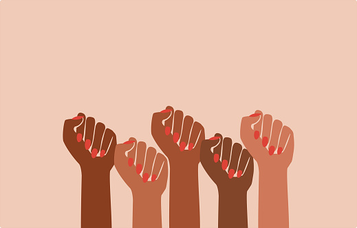 black fist people, brown power, black history month, female pride, protests, feminist empowerment, hands raised, retro graphic design, red nail polish, strong women, girl power, poster card