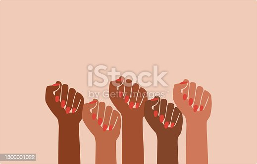 istock black fist people, brown power, black history month, female pride, protests, feminist empowerment, hands raised, retro graphic design, red nail polish, strong women, girl power, poster card 1300001022