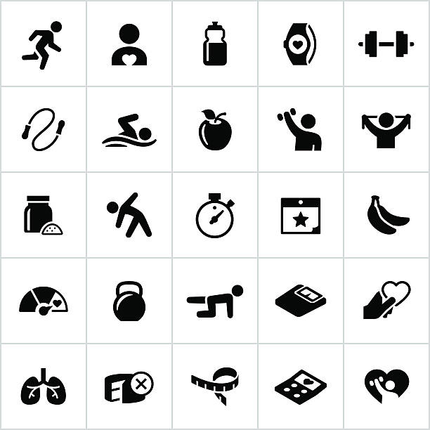 black fitness and exercise icons - workout calendar stock illustrations, clip art, cartoons, & icons