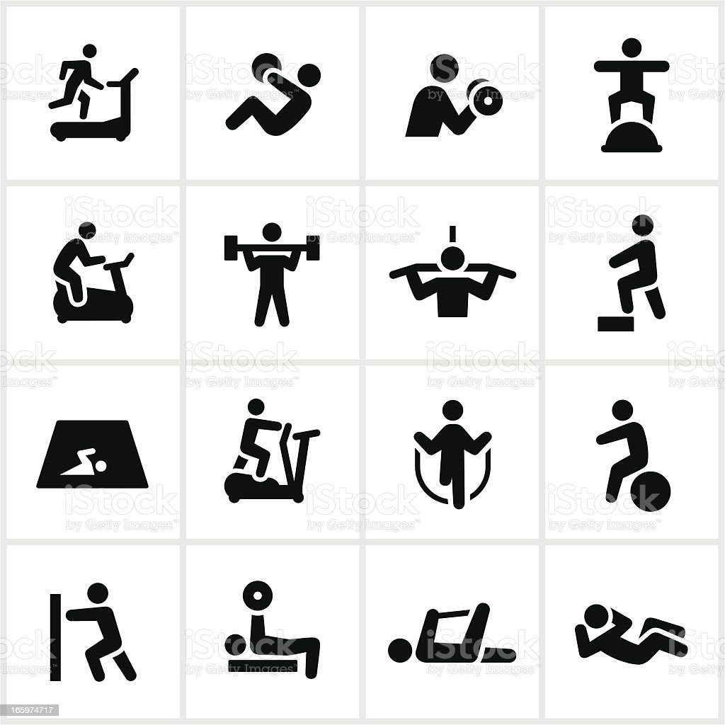 Black Fitness Icons vector art illustration