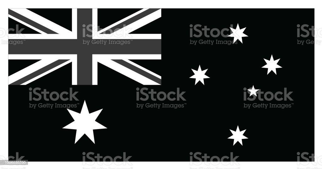 Black bandeira da Austrália - ilustração de arte em vetor