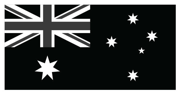 ilustrações, clipart, desenhos animados e ícones de black bandeira da austrália - bandeira union jack