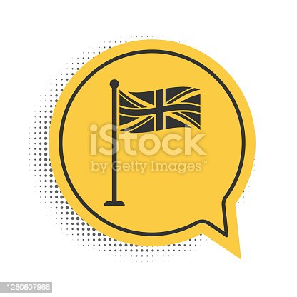 Black Flag of Great Britain on flagpole icon isolated on white background. UK flag sign. Official United Kingdom flag sign. British symbol. Yellow speech bubble symbol. Vector.