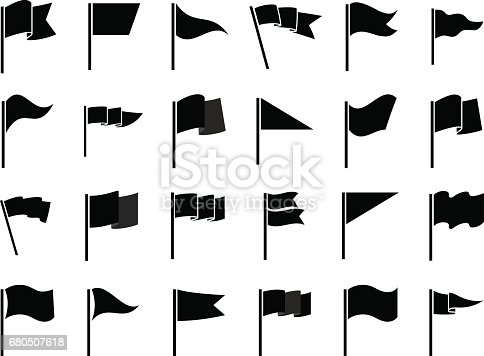 Black flags icons and pennants signs isolated on white background for infographic. Vector illustration