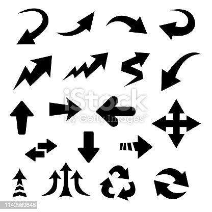 Vector set of black flat drawing arrow icons, isolated on white background.