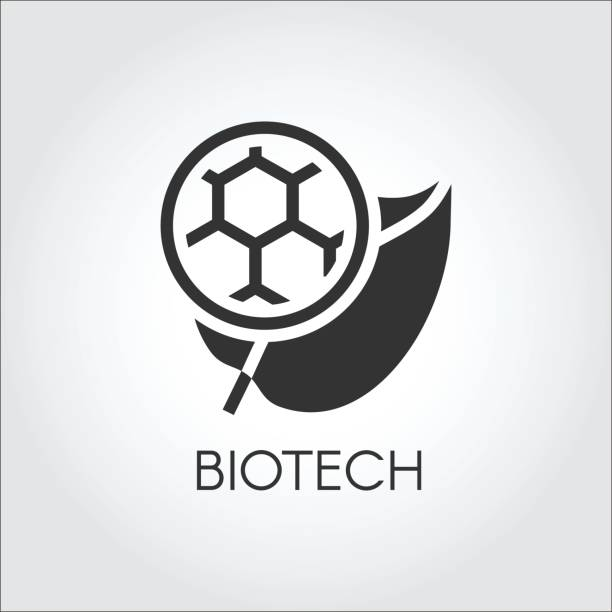 black flat icon of leaf and molecule symbolizing modern biotech. simplicity label of biotechnology concept. vector logo - bio tech stock illustrations, clip art, cartoons, & icons