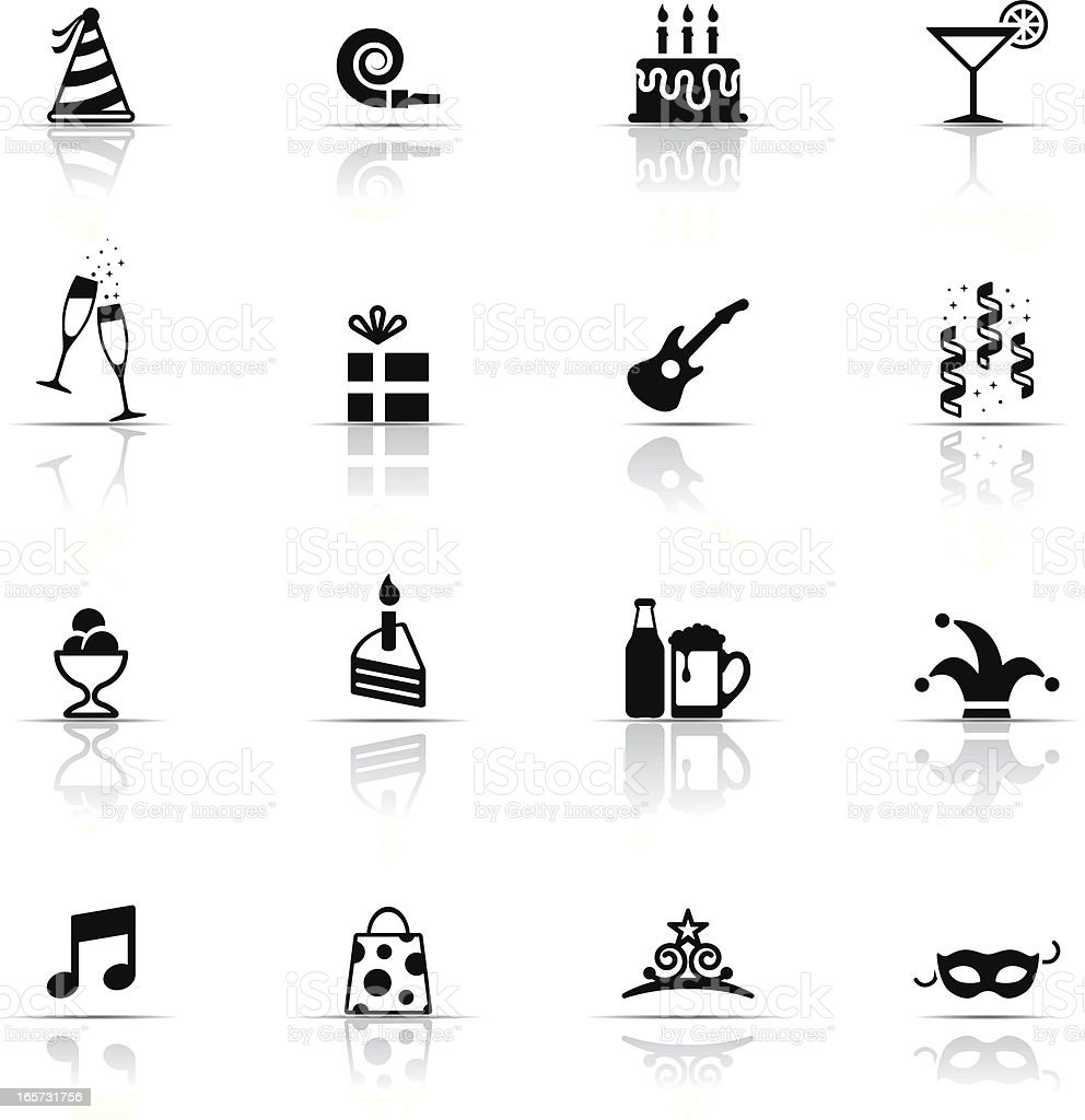 Black flat images of birthday and celebrations royalty-free stock vector art