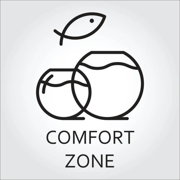 ilustraciones, imágenes clip art, dibujos animados e iconos de stock de icono de línea plana negra de dos acuario y peces saltando. concepto de zona de сomfort. ilustración de vector - comfortable