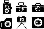 Black flat photo camera icon