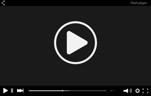 illustrations, cliparts, dessins animés et icônes de black vidéo plat modèle de barre de lecteur pour votre conception. interface flash minime branché en style social. illustration vectorielle moderne pour site web et application. - video