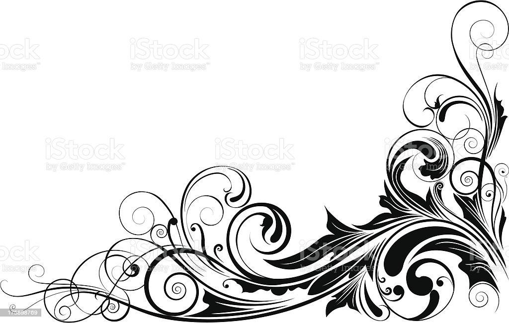 Black floral corner vector art illustration