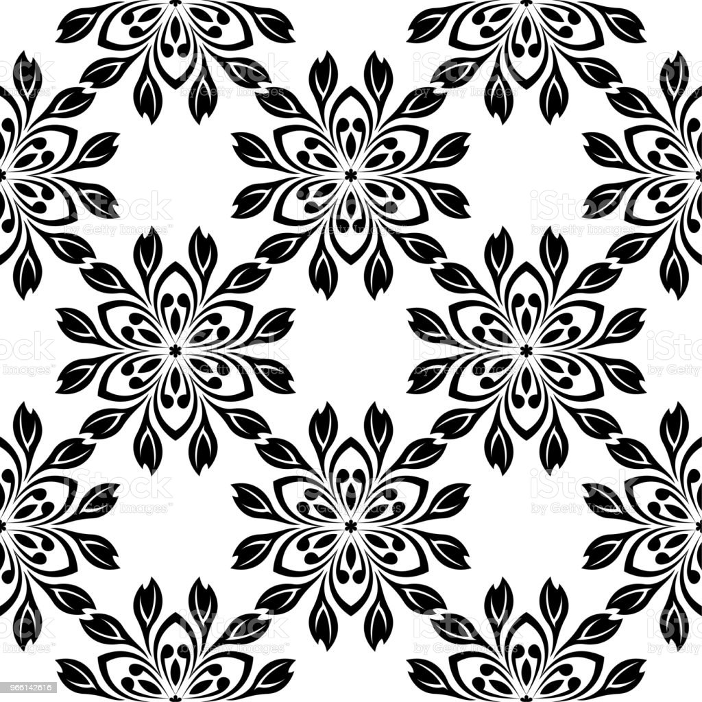Black floral seamless design on white background - Векторная графика Абстрактный роялти-фри