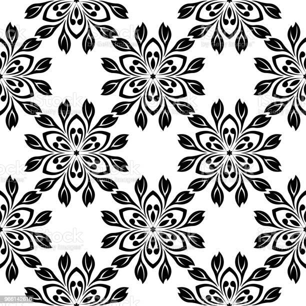 Black Floral Seamless Design On White Background — стоковая векторная графика и другие изображения на тему Абстрактный