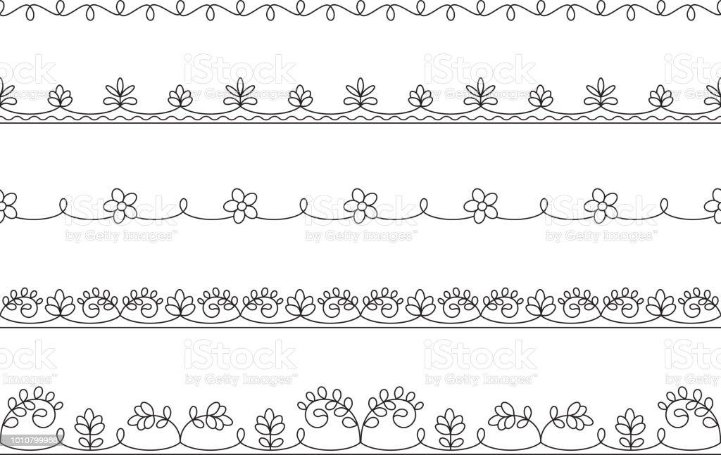 Ilustración de Negro Florales Adornos Inconsútiles Esquemas Para El ...