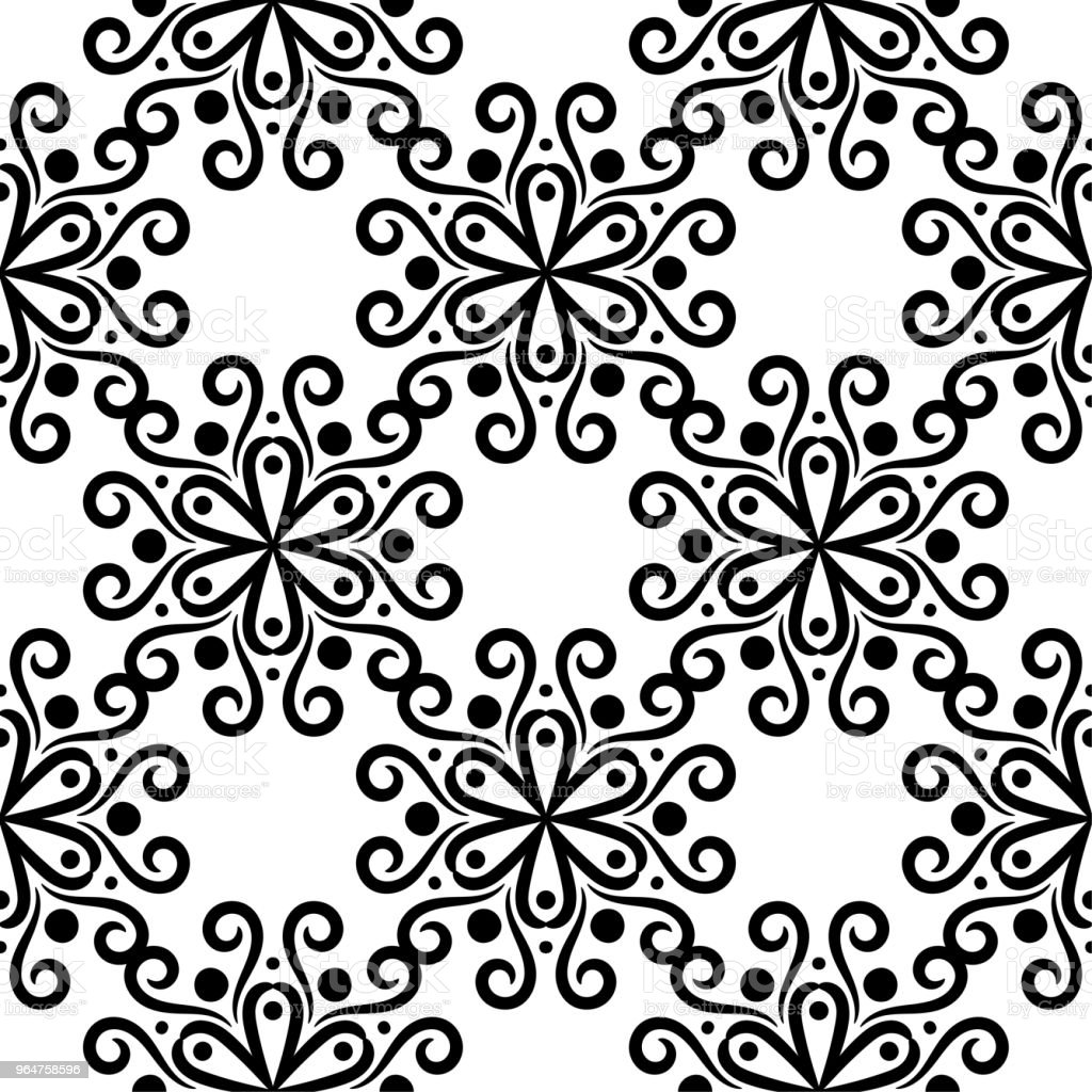 Black floral seamless pattern on white background royalty-free black floral seamless pattern on white background stock vector art & more images of abstract