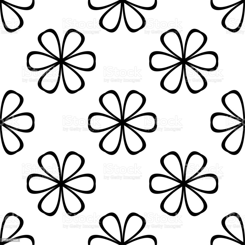 Black floral seamless pattern on white background - Royalty-free Abstrato arte vetorial